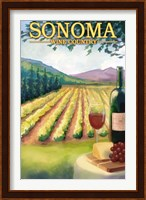 Framed Sonoma Wine Country Ad
