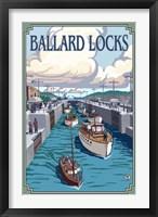 Framed Ballard Locks Boat Ad