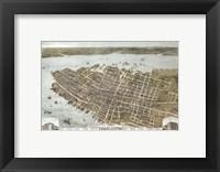Framed Charleston, South Carolina Map