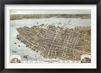 Framed Charleston, South Carolina Map