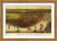 Framed New Orleans & Mississippi River Map