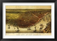 Framed New Orleans & Mississippi River Map
