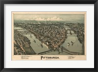 Framed Pittsburgh Map, 1902