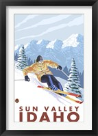 Framed Sun Valley Idaho Ski
