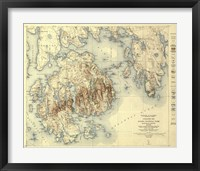 Framed Acadia National Park Map