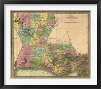 Framed Map of Louisiana
