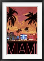 Framed Miami City Palms Scene