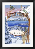 Framed Lake Tahoe Skiiers Ad