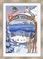 Framed Lake Tahoe Skiiers Ad