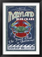 Framed Maryland Blue Crabs