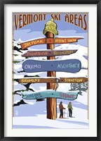 Framed Vermont Ski Areas Signs