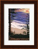 Framed Lake Michigan Beach Ad