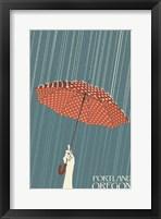 Framed Portland Oregon Umbrella In Rain