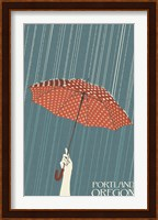 Framed Portland Oregon Umbrella In Rain