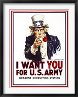 Framed I Want You For U.S. Army