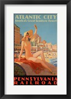 Framed Atlantic City Bathing Pa Line