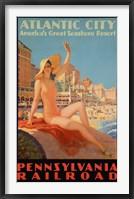 Framed Atlantic City Bathing Pa Line
