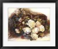 Framed White Roses in Basket