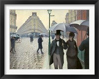 Framed Caillebotte, Paris Street, A Rainy Day