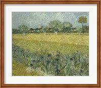 Framed View of Arles with Irises