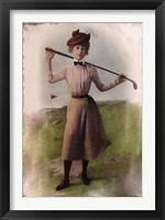 Framed Vintage Lady Golfer