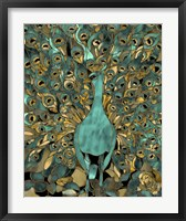 Framed Gold Teal Peacock