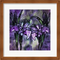 Framed Stained Glass Orchids
