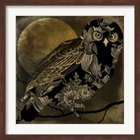 Framed Sepia Moon Owl