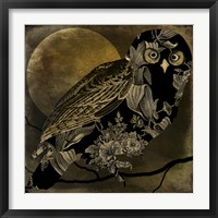 Framed Sepia Moon Owl