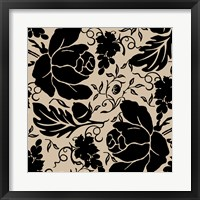 Grapes and Buds Black and Beige Framed Print