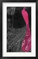 Framed Art Nouveau Pink Peacock
