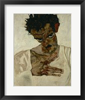 Framed Egon Schiele  Self-Portrait With Bent Head, 1912