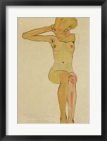 Framed Seated Female Nude With Raised Right Arm, 1910