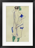 Framed Standing Girl In Blue Dress And Green Stockings, 1913