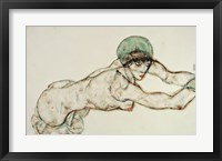 Framed Reclining Female Nude with Green Cap, Leaning to the Right, 1914