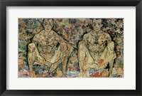 Framed Two Squatting Men  (Double Self-Portrait), 1918