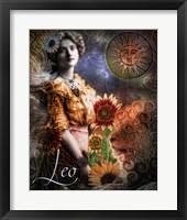 Framed Art Nouveau Zodiac Leo