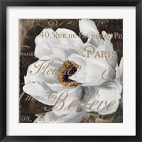 Framed Fleurs Blanc III