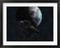 Framed Asteroid in Front of Earth