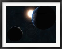 Framed Earth, Moon and Sun