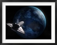 Framed Space Shuttle Against Earth