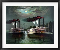Framed Steamboats Robert E Lee and Natchez