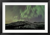 Framed Aurora Borealis over Mountain