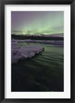 Framed Aurora Borealis over Creek, Yukon, Canada