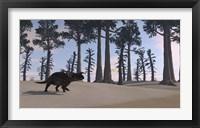 Framed Brown Einiosaurus Roaming
