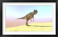 Framed Ceratosaurus Hunting in a Desert