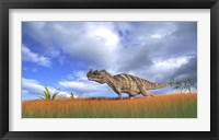 Framed Ceratosaurus Hunting in Prehistoric Grasslands