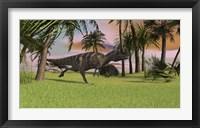 Framed Ceratosaurus Running Across a Field
