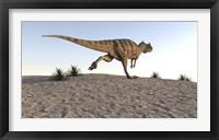 Framed Ceratosaurus Running Across a Terrain
