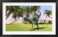 Dilophosaurus Hunting in a Field Framed Print